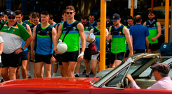 Manager Joe Kernan, Shane Walsh and Killian Clarke lead the rest of the players to the Ireland International Rules Squad training at Langley Park, Perth. Photo: Sportsfile