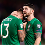 14 November 2017; A dejected Jeff Hendrick, left, and Robbie Brady of Republic of Ireland after the FIFA 2018 World Cup Qualifier Play-off 2nd leg match between Republic of Ireland and Denmark at Aviva Stadium in Dublin. Photo by Seb Daly/Sportsfile