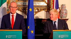 UK Foreign Secretary Boris Johnson looks on during a meeting with Simon Coveney at Iveagh House in Dublin. Credit: Brian Lawless/PA Wire