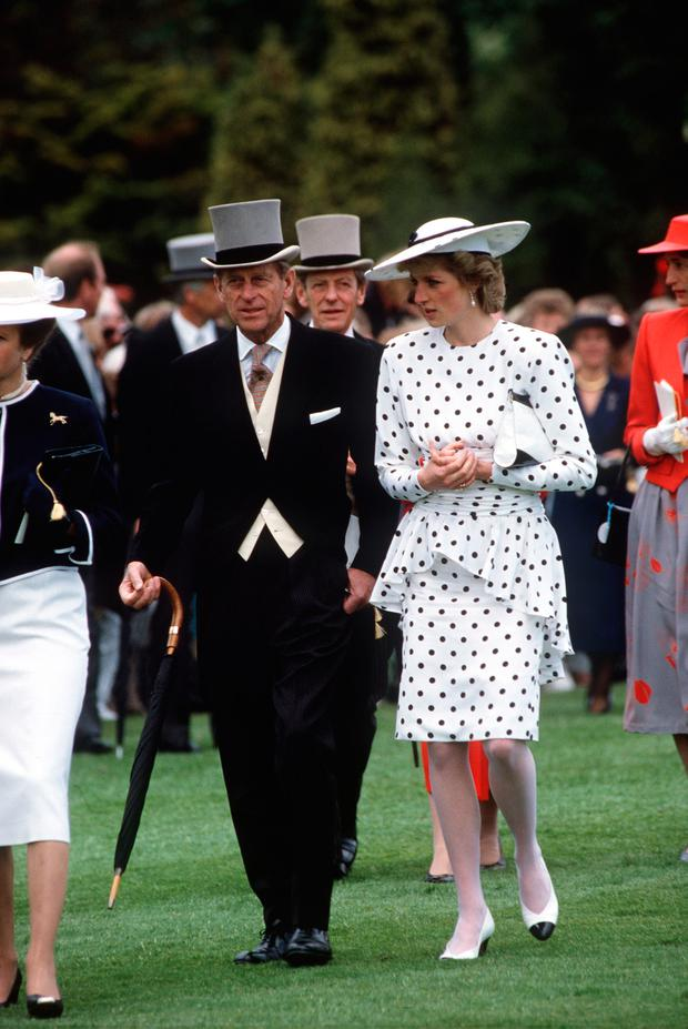 Princess Diana With Prince Philip At The Derby, Epsom, Surrey. (Photo by Tim Graham/Getty Images)