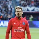 Neymar Jr of Paris Saint-Germain reacts during the Ligue 1 match between Paris Saint-Germain (PSG) and FC Girondins de Bordeaux at Parc des Princes on September 30, 2017 in Paris. (Photo by Xavier Laine/Getty Images )
