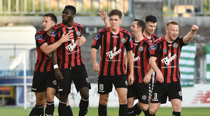 Ishmahil Akinade, second from left, of Bohemians celebrates after scoring his side's first goal with team-mates during the SSE Airtricity League Premier Division match between Shamrock Rovers and Bohemians at Tallaght Stadium, Tallaght, in Co. Dublin. Photo by David Maher/Sportsfile
