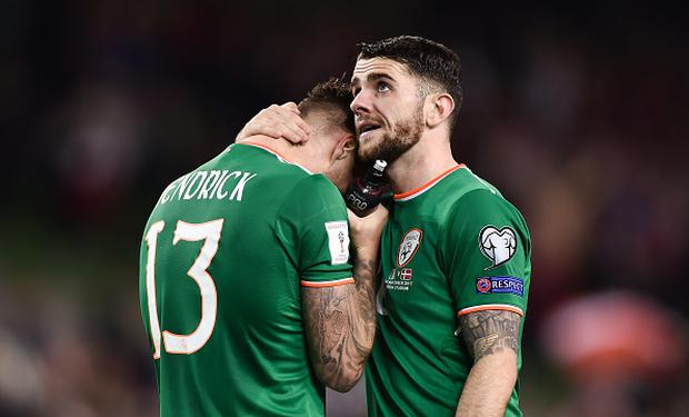 A dejected Jeff Hendrick, left, and Robbie Brady of Republic of Ireland after the FIFA 2018 World Cup Qualifier Play-off 2nd leg match between Republic of Ireland and Denmark at Aviva Stadium in Dublin. (Photo By Seb Daly/Sportsfile via Getty Images)