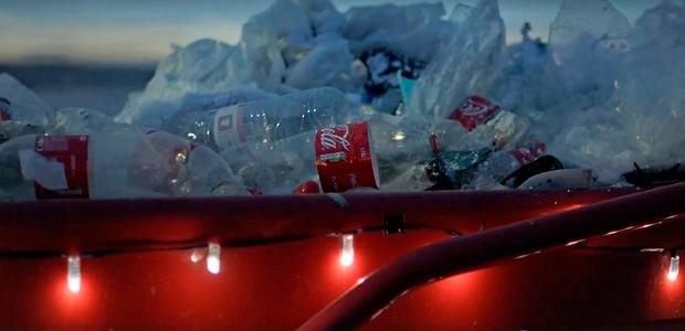 Screen grabbed image taken from video released by Greenpeace of their spoof Christmas Coca-Cola advert which they have produced in a bid to highlight the scale of plastic pollution blighting the world's oceans. Photo: Greenpeace/PA Wire