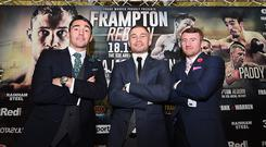 Carl Frampton (C) attends a press conference alongside fellow Belfast boxers Jamie Conlan (L) and Paddy Barnes (R) to announce details of his partnership with Frank Warren and upcoming boxing bill at Ulster Hall on September 27, 2017 in Belfast, Northern Ireland. (Photo by Charles McQuillan/Getty Images)