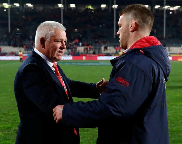Warren Gatland with Sean O'Brien following the Lions' hard-fought 12-3 victory over New Zealand in Christchurch in June. Photo: David Rogers/Getty Images