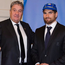 A Twitter post from the Italian Rugby Federation showing Ian McKinley receiving his first cap for the country from president of the organisation Alfredo Gavazzi