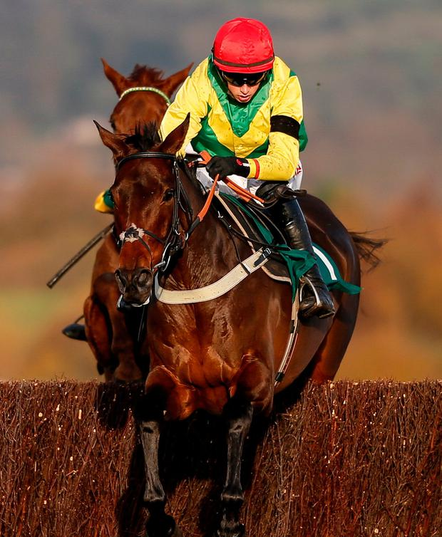 Finian's Oscar, with Bryan Cooper up, on the way to winning the Novices' Steeplechase at Cheltenham yesterday. Photo by Alan Crowhurst/Getty Images