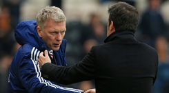 David Moyes shakes hands with Marco Silva after Sunderland's victory over Hull City last season. The managers meet again tomorrow as managers of different clubs. Photo: Getty Images