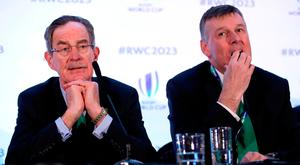 Ireland 2023 bid chairman Dick Spring and IRFU chief executive Philip Browne reflect on the lost bid earlier this week. Photo: PA