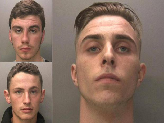 Clockwise from top left: Jack McInally, Jake Cairns, Brandon Sharples. The men have been found guilty of sexually exploiting a 14-year-old girl in Coventry West Midlands Police