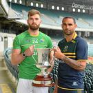 Ireland team captain Aidan O'Shea, the Australian captain Shaun Burgoyne and the Cormac McAnallen Cup during the Australia v Ireland - Virgin Australia International Rules Series 2nd Test pre match photocall at the Domain Stadium, Subiaco Oval, Perth, Australia (Photo By Ray McManus/Sportsfile via Getty Images)