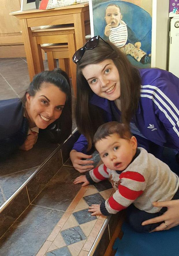 Jonah Murphy (2) pictured with cousin's Karen and Michelle Hurney via Facebook