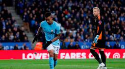 Soccer Football - Premier League - Leicester City vs Manchester City - King Power Stadium, Leicester, Britain - November 18, 2017 Manchester City's Gabriel Jesus celebrates scoring their first goal. Action Images via Reuters/Andrew Couldridge