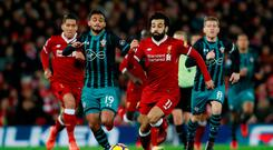 Soccer Football - Premier League - Liverpool vs Southampton - Anfield, Liverpool, Britain - November 18, 2017 Liverpool's Mohamed Salah in action with Southampton's Sofiane Boufal. Action Images via Reuters/Jason Cairnduff