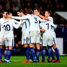 Chelsea's Eden Hazard (second left) celebrates scoring his side's fourth goal of the game with team mates during the Premier League match at The Hawthorns, West Bromwich. PRESS ASSOCIATION Photo. Picture date: Saturday November 18, 2017. Photo credit should read: Nick Potts/PA Wire.