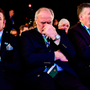 Ireland 2023 bid ambassador Brian O'Driscoll, IRFU President Philip Orr and IRFU chief executive Philip Browne react to the host union announcement. Photo: Sportsfile
