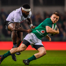 18 November 2017; Andrew Conway of Ireland is tackled by Levani Botia of Fiji during the Guinness Series International match between Ireland and Fiji at the Aviva Stadium in Dublin. Photo by Sam Barnes/Sportsfile
