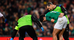 18 November 2017; Joey Carbery of Ireland receives treatment during the Guinness Series International match between Ireland and Fiji at the Aviva Stadium in Dublin. Photo by Sam Barnes/Sportsfile