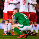 Daryl Murphy is devastated following Ireland's defeat to Denmark in the World Cup play-off on Tuesday night. Photo: Sportsfile