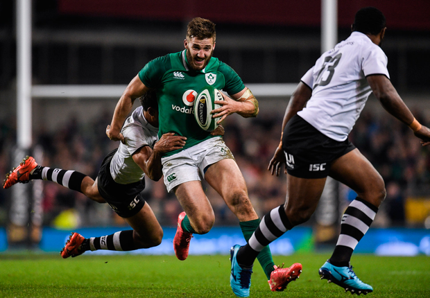 18 November 2017; Stuart McCloskey of Ireland is tackled by Ben Volavola of Fiji during the Guinness Series International match between Ireland and Fiji at the Aviva Stadium in Dublin. Photo by Eóin Noonan/Sportsfile
