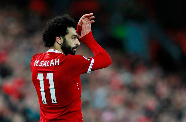 Liverpool's Mohamed Salah applauds the fans as he is substituted Photo: Reuters/Jason Cairnduff