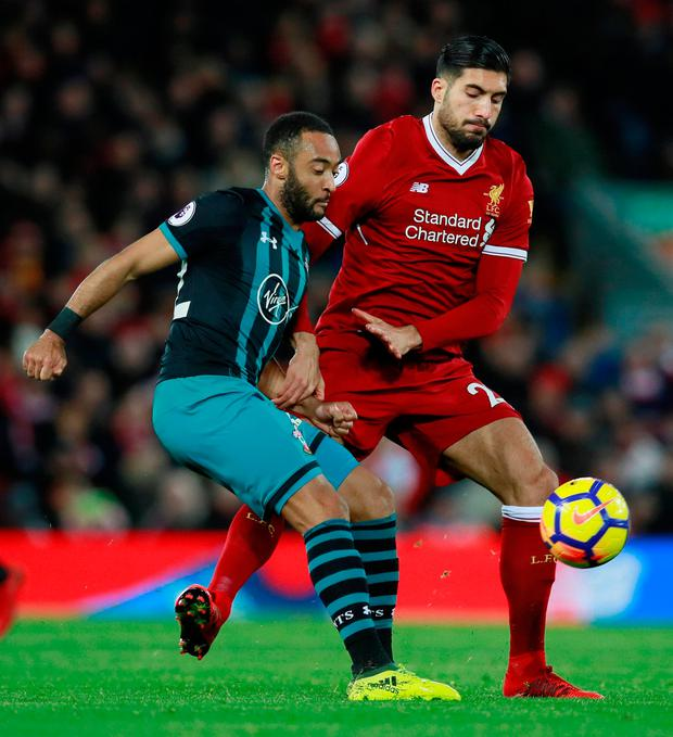 Southampton's Nathan Redmond in action with Liverpool's Emre Can Photo: Reuters/Jason Cairnduff