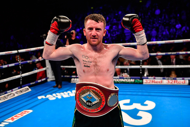 18 November 2017; Paddy Barnes celebrates after defeating Eliecer Quezada during their WBO Intercontinental Title bout at the SSE Arena in Belfast. Photo by Ramsey Cardy/Sportsfile