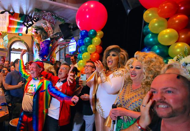 A FAIR GO: Celebrations on Sydney's Oxford Street after results from Australia's marriage equality postal vote came through. Photo: Steven Saphore/Reuters