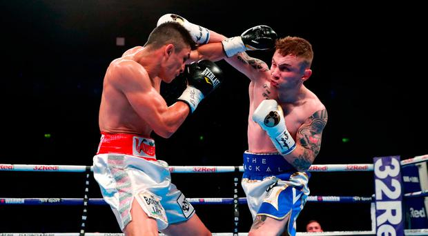 Horacio Garcia (left) and Carl Frampton during the International Featherweight Contest at the SSE Arena Belfast. PRESS ASSOCIATION Photo. Picture date: Saturday November 18, 2017. See PA story BOXING Belfast. Photo credit should read: Liam McBurney/PA Wire