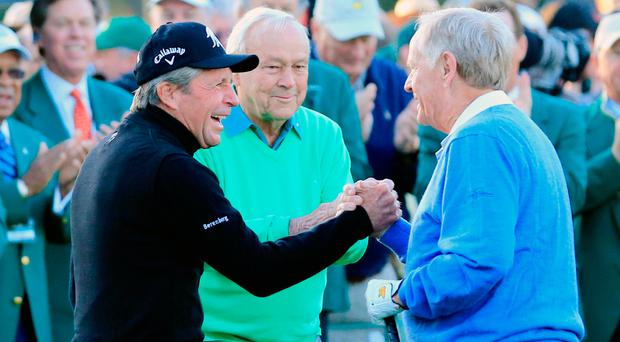 Gary Player with Arnold Palmer and Jack Nicklaus at the start of the 2014 Masters: 'It's been a wonderful journey with these two gentlemen here' Photo: Rob Carr/Getty Images