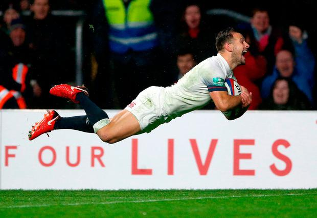 England's Danny Care scores his side's fourth try Photo: Nigel French/PA Wire