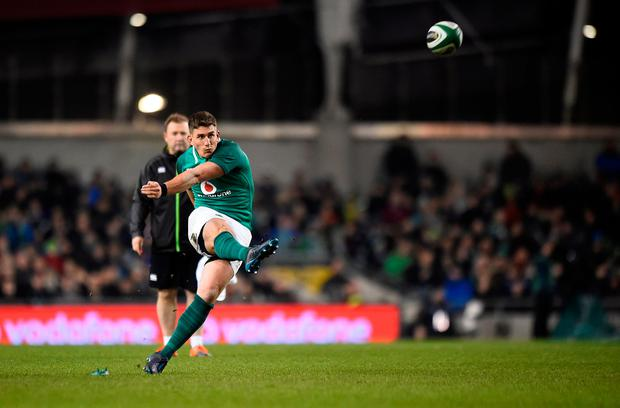 Ireland's Ian Keatley kicks a penalty Photo: REUTERS/Clodagh Kilcoyne