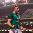 Jack Conan celebrates after scoring Ireland's third try in the 23-20 win over Fiji at the Aviva Stadium last night Photo: Eóin Noonan/Sportsfile