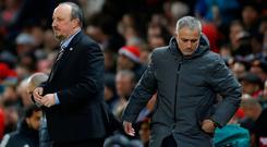 Manchester United manager Jose Mourinho and Newcastle United manager Rafael Benitez after the match Photo: Reuters/Carl Recine
