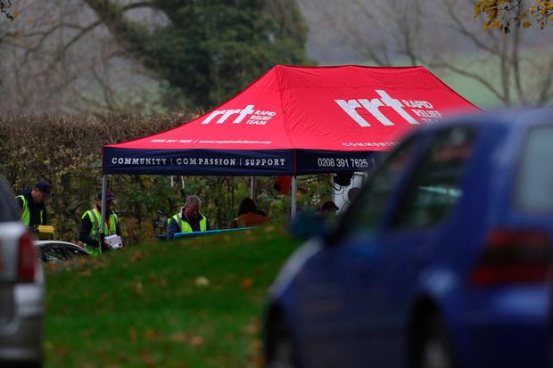 A rapid relief tent visible at the entrance to the crash site near Waddesdon. Photo: Aaron Chown/PA Wire