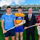 17 October 2017; In attendance at Croke Park to launch the AIG Fenway Hurling Classic and Irish Festival, also supported by Aer Lingus, from left, Eoghan O'Donnell of Dublin, David Fitzgerald of Clare, Declan O'Rourke, General Manager, AIG Ireland, Johnny Coen of Galway and Michael Cahill of Tipperary. Photo by Brendan Moran/Sportsfile