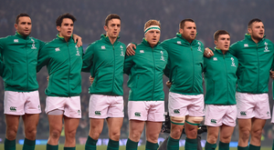 18 November 2017; Ireland players, from left, Dave Kearney, Joey Carbery, Darren Sweetnam, James Tracy, CJ Stander, Luke McGrath and Robbie Henshaw during the Guinness Series International match between Ireland and Fiji at the Aviva Stadium in Dublin. Photo by Seb Daly/Sportsfile