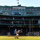Rian McBride of Dublin in action against Conor Cooney of Galway during the AIG Super 11's Fenway Classic Semi-Final match between Dublin and Galway at Fenway Park in Boston, MA, USA. Photo by Brendan Moran/Sportsfile
