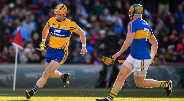 19 November 2017; John Conlon of Clare in action against Dan McCormack of Tipperary during the AIG Super 11's Fenway Classic Semi-Final match between Clare and Tipperary at Fenway Park in Boston, MA, USA. Photo by Brendan Moran/Sportsfile