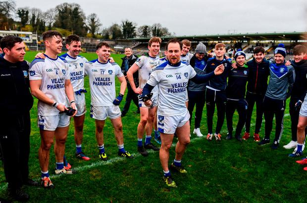 Seanie Johnston gives a team-talk to his Cavan Gaels team-mates following their victory in the AIB Ulster SFC semi-final replay against Derrygonnelly. Photo: SAM BARNES/SPORTSFILE