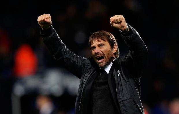 Chelsea manager Antonio Conte celebrates after the match. Photo: REUTERS