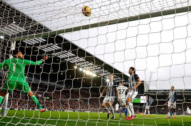 Chelsea's Marcos Alonso scores their third goal. Photo: REUTERS/Peter Nicholls