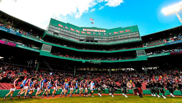 The Galway and Dublin hurling teams walk in the parade before the AIG Super 11's Fenway Classic. Photo: BRENDAN MORAN/SPORTSFILE