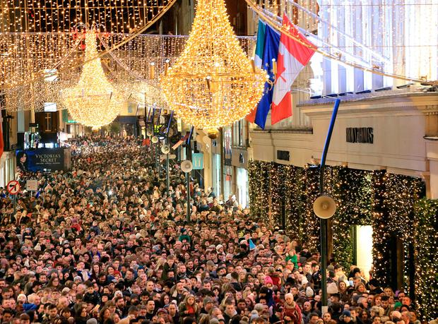 Crowds gathered on Grafton Street for the lights switch-on Photo: Gerry Mooney