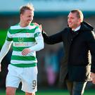 Celtic manager Brendan Rodgers with match-winner Leigh Griffiths after the final whistle. Photo: PA