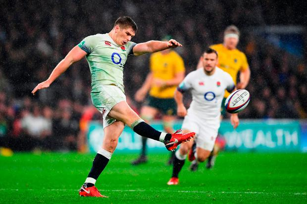 England's Owen Farrell kicks. Photo: Laurence Griffiths/Getty Images