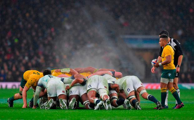 Australia's scrum-half Will Genia (R) prepares to feed the ball into the scrum. Photo: AFP/Getty Images