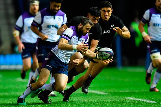 Scotland wing Tommy Seymour recieves a pass. Photo: AFP/Getty Images