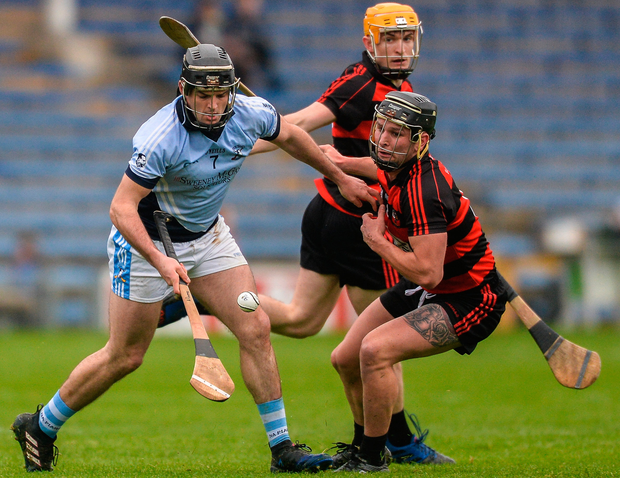 Na Piarsaigh's Alan Dempsey in action against Ballygunner's Harley Barnes (front) and Peter Hogan. Photo: Sportsfile